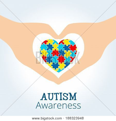 Autism awareness concept with heart of puzzle pieces