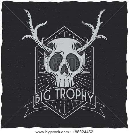 Skull with deer horns t-shirt label design. Hipster theme illustration.