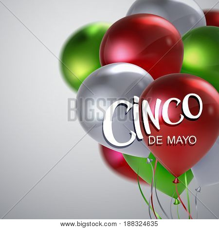 Cinco de Mayo. Vector festive illustration of lettered label and balloons of mexican flag colors. 5 of May holiday vector. Mexican holiday lettering.