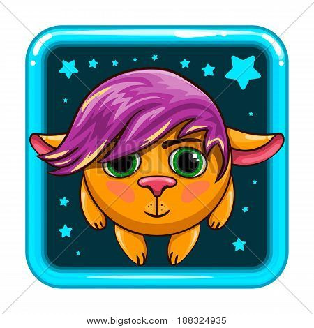 App icon with fantastic animal. Cartoon animal character