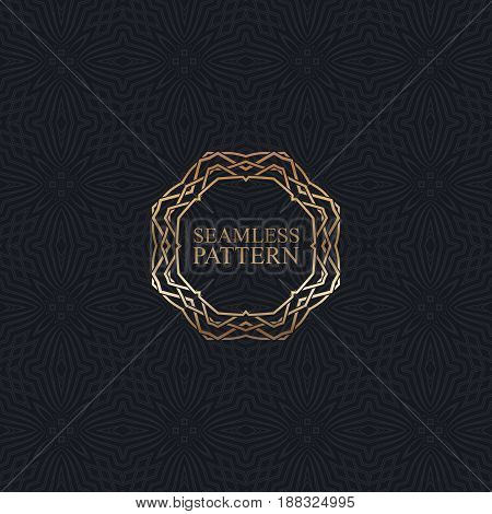 Vector seamless elegant pattern for package or textile design. Black seamless wallpaper with vintage bronze ornate frame. Art-deco background with trellis texture