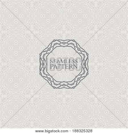 Vector seamless elegant pattern for package or textile design. Black seamless wallpaper with vintage ornate frame. Art-deco background with trellis texture
