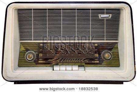 Nostalgic antique radio isolated on white with clipping path