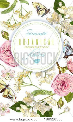 Vector botanical vertical banner with rose, linden, jasmine flowers and butterflies. Design for tea, natural cosmetics, perfume, health care products. Can be used as greeting card, wedding invitation