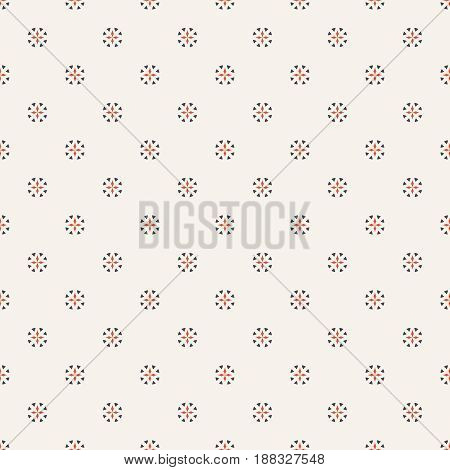 Seamless pattern. Abstract wrapping digital paper. Modern stylish texture. Regularly repeating geometrical circle round shapes with crosses and triangles. Vector element of graphical design