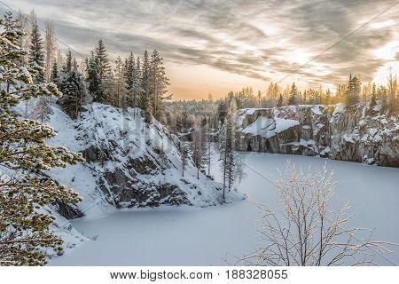 Marble kanyon in Ruskeala Karelia in winter Russia