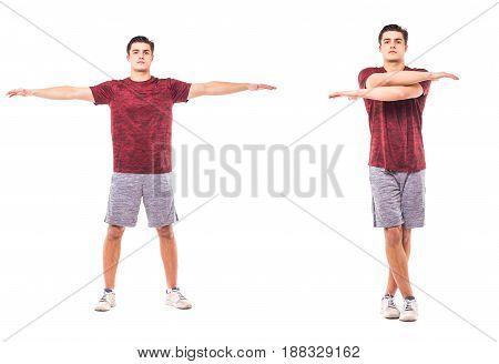 Cross Jacks. Young Man Doing Sport Exercise.