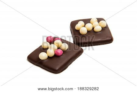 pastry Chocolate german cookies on white background