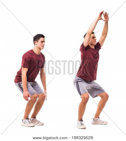 Low Jacks. Young Man Doing Sport Exercise.