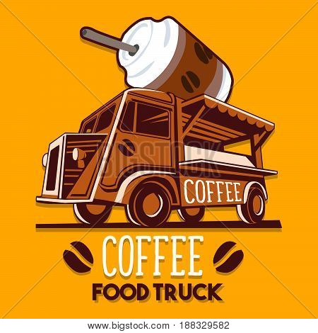 Food truck logotype for coffee cafe breakfast fast delivery service or summer food festival. Truck van with black coffee cup advertise ads vector logo