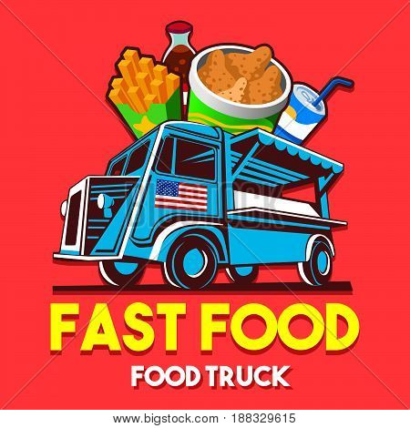 Food truck logotype for fast food restaurant delivery service or food festival. Truck van with food advertise ads vector logo
