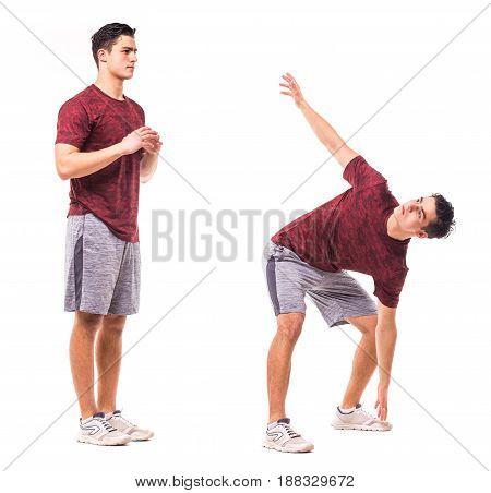 Rotational Jacks. Young Man Doing Sport Exercise.