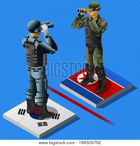 Vector illustration of North Korea soldier against south Korea soldier. Crisis of Korea relations