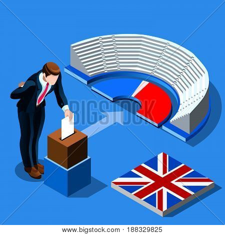 UK election voting concept English man putting paper in the isometric ballot box. Isometric people vector design