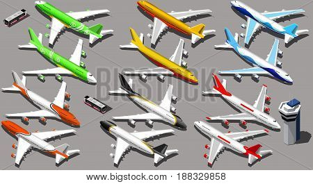 Vector isometric aeroplane isolated icons 3D aircraft with planes and shuttle bus