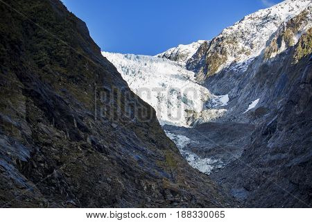 scene of franz josef glacier in south island new zealand important traveling destination