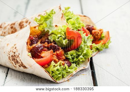 Tortilla With Mincemeat And Beans