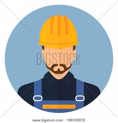 Builder in protective clothing and helmet. Designer avatar. Flat design. Stock .