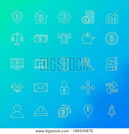 Cryptocurrency Line Icons. Vector Set of Outline Bitcoin Items over Blurred Background.