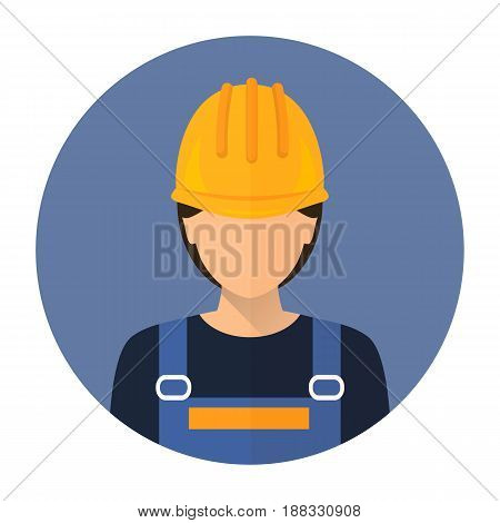 Builder Builder in protective clothing and helmet. Woman Builder.Flat design. Stock vector.