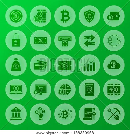 Cryptocurrency Solid Circle Web Icons. Vector Illustration of Bitcoin Glyphs over Blurred Background.
