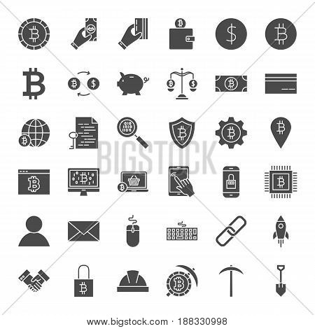 Cryptocurrency Solid Web Icons. Vector Set of Bitcoin Glyphs.