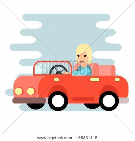 The woman behind the wheel . Red car, Flat design. stock vector.