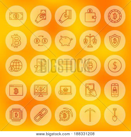Line Bitcoin Web Icons. Vector Illustration of Outline Cryptocurrency Symbols over Blurred Background.