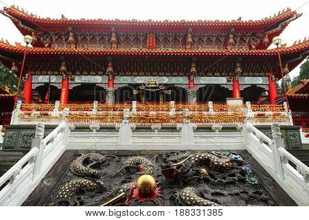 Close up Dragons architecture in Wenwu Temple located at Sun Moon Lake Taiwan