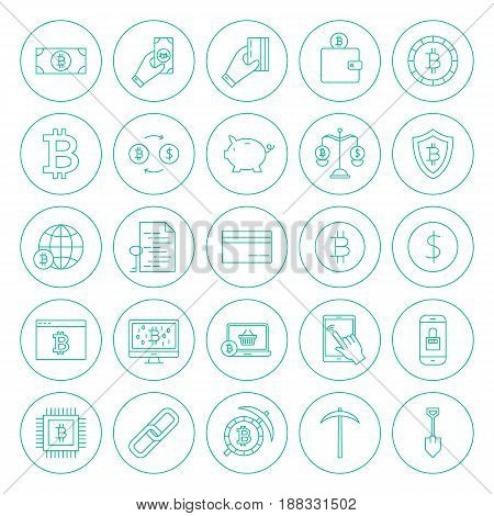 Line Cryptocurrency Circle Icons. Vector Illustration of Outline Bitcoin Objects.