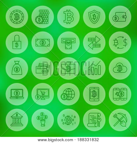 Line Web Bitcoin Icons. Vector Illustration of Outline Cryptocurrency Symbols over Blurred Background.