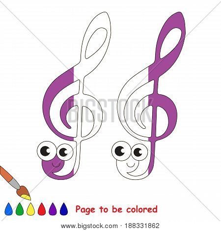 Funny Treble Clef, the coloring book to educate preschool kids with easy gaming level, the kid educational game to color the colorless half by sample.