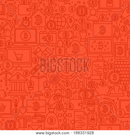 Red Line Bitcoin Seamless Pattern. Vector Illustration of Outline Tile Background. Cryptocurrency Financial Items.