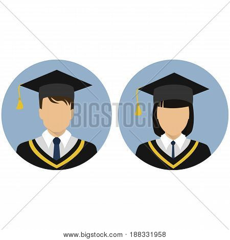 Icons set. Student. Graduate. Avatar. A gold ribbon. A man and a woman. The medallion. Stock vector