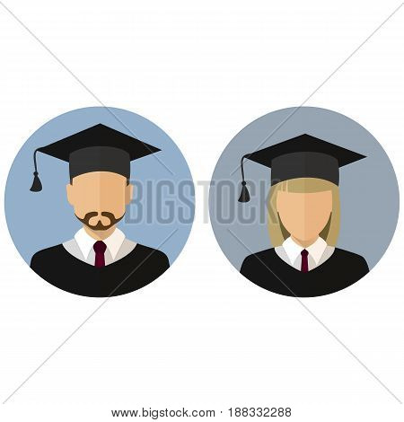 Icons set. Student. Graduate. Avatar. A man and a woman. The medallion Stock vector