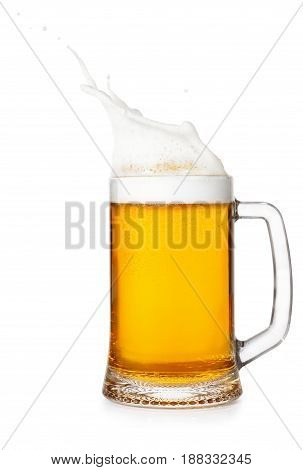lager beer in mug with splash isolated on white background. Beer splash. Pub alcohol drink