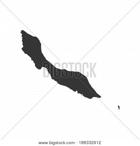 Curacao map silhouette on the white background. Vector illustration