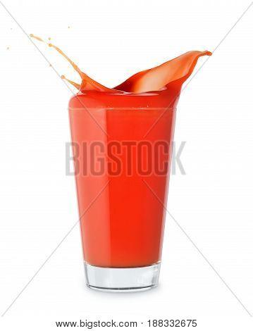 tomato juice. Glass of tomato juice with splash isolated on white background