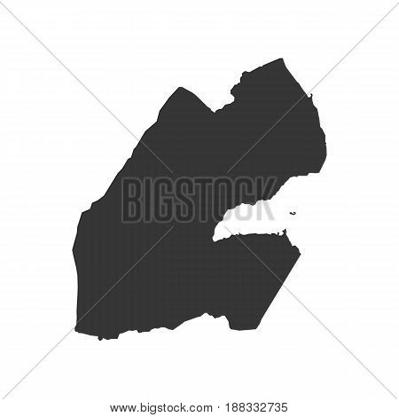 Djibouti map silhouette on the white background. Vector illustration