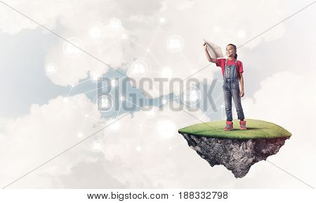 Cute smiling girl on floating island presenting social connection concept