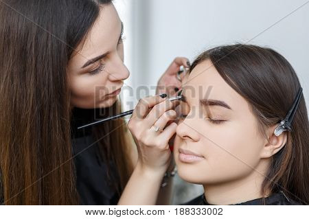 makeup artist contouring brows with eyebrow shadow. Woman drawing a shape of eyebrows using cosmetic brush. Vsagiste applying eyebrow makeup. Eyebrows shaping. Professional eyebrows makeup