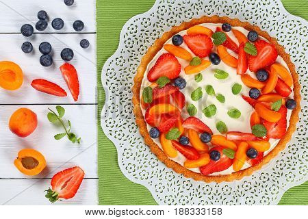 Tart Beautifully Topped With Fresh Strawberries