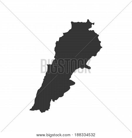Lebanon map silhouette on the white background. Vector illustration
