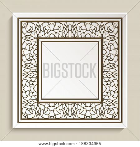 Cutout paper label, square frame with swirly border pattern, graphic embellishment, vintage decorative element for design