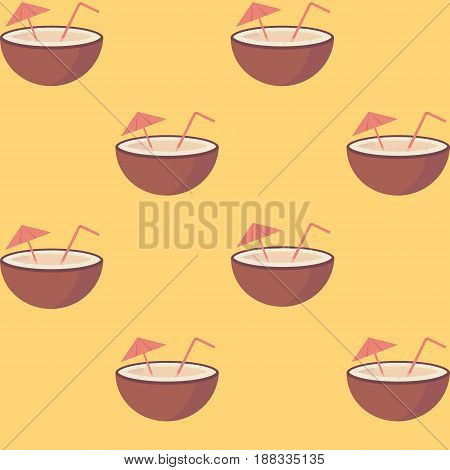 Coconut fruit with straw and umbrella seamless pattern in flat vector style on the yellow background.