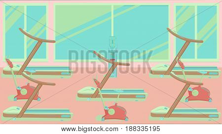 Spacious exercise room with a large window