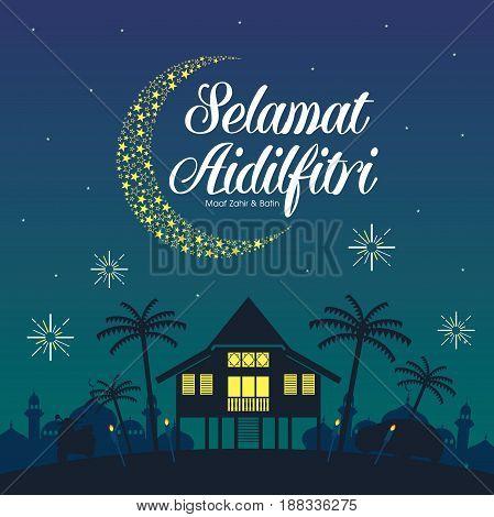 Selamat Hari Raya Aidilfitri illustration with traditional malay village house / Kampung. Caption: Fasting Day of Celebration