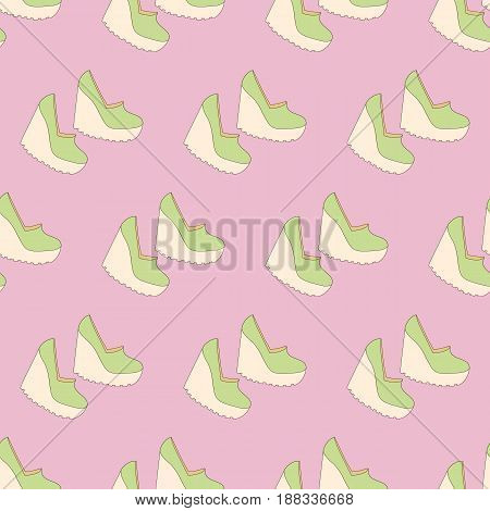 Shoes pattern on the pink background. Vector illustration