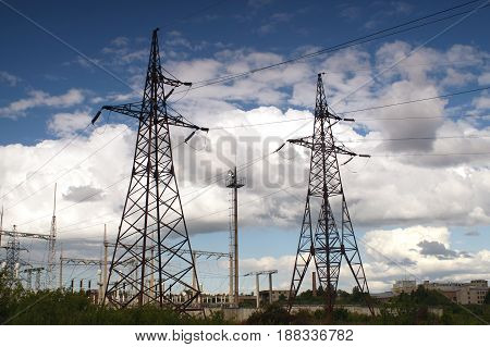High voltage electrical power transmission pylons. Towers of distribution power lines. Ukraine oblenergo sale.