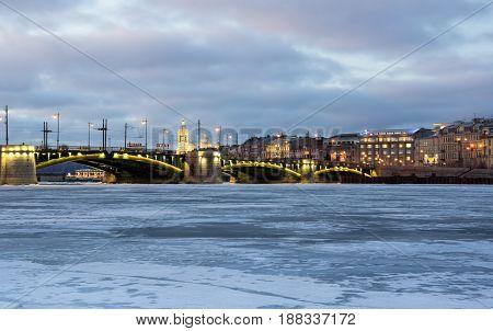 SAINT- PETERSBURG RUSSIA - FEBRUARY 01 2016: Panoramic view of Neva river and the historical center of Saint Petersburg Russia